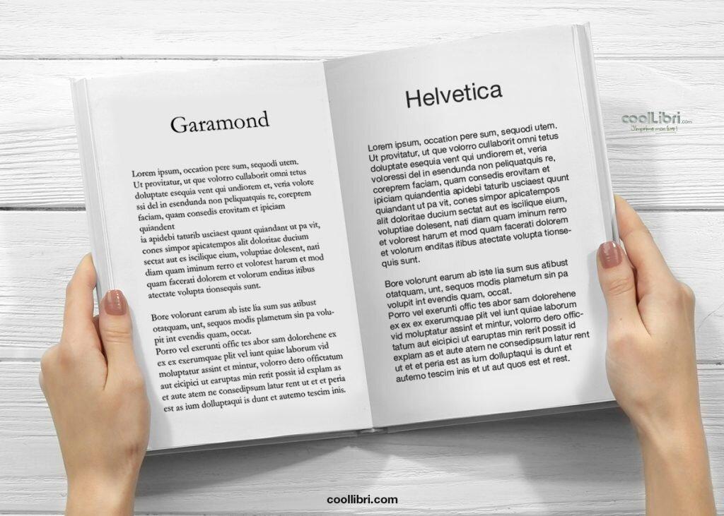 police pour écrire un livre Garamond et Helvetica