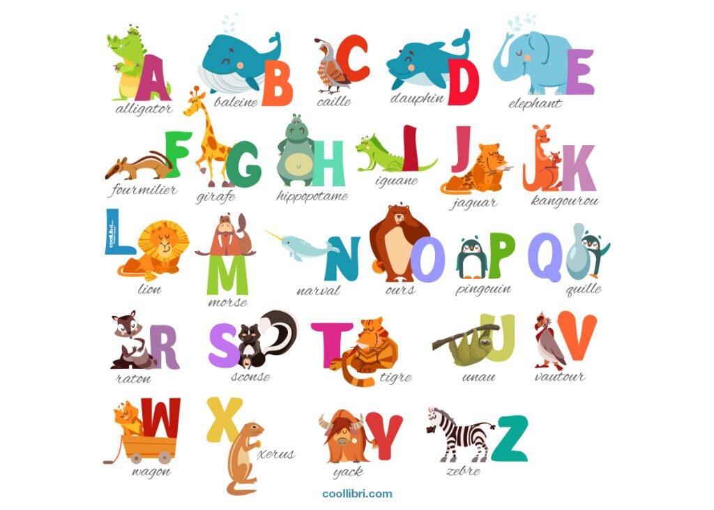 alphabet coloré avec des animaux