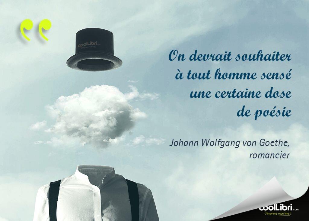 citation  Johann Wolfgang von Goethe - On devrait souhaiter à tout homme sensé une certaine dose de poésie